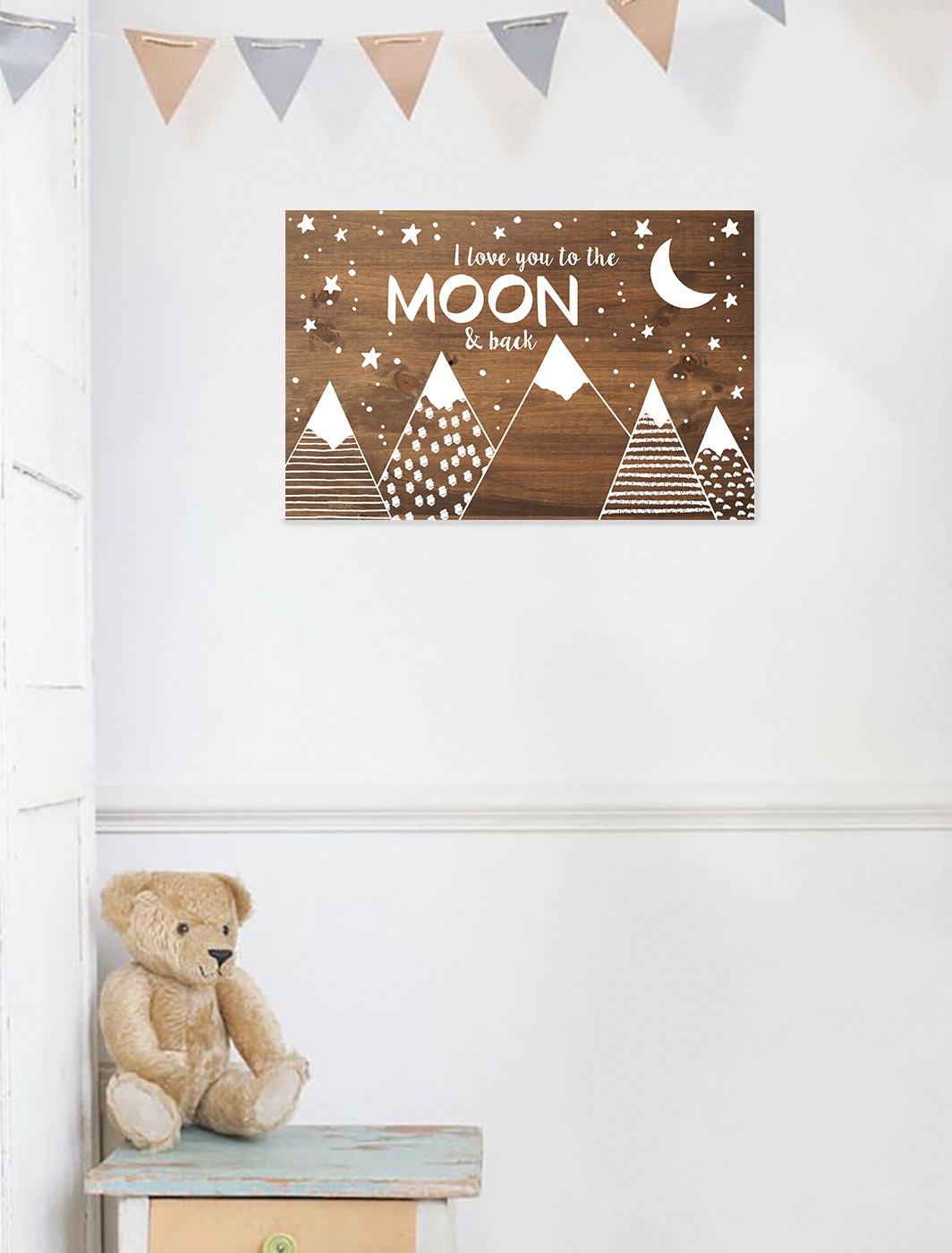 Cartel de madera-Love You To The Moon-TWINS
